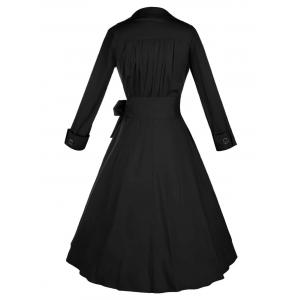 Long Sleeve Wrap Swing Midi Vintage Dress - BLACK M