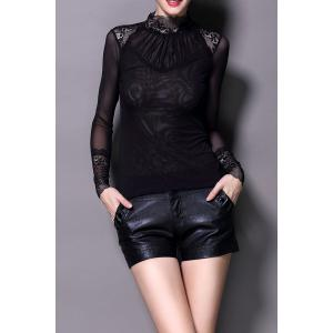See Through Lace Spliced Blouse - Black - M