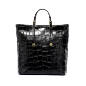 Crocodile Embossed Buckle Metal Tote Bag -