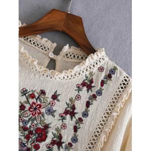 Openwork Fringed Floral Embroidered Blouse - OFF WHITE S