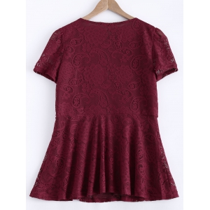 Waisted Frilled Lace Blouse - WINE RED 2XL