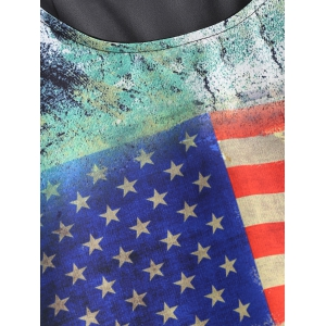 Asymmetrical Flag Pattern Tank Top -