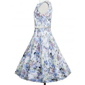 Floral Sleeveless A Line Vintage Dress - FLORAL XL
