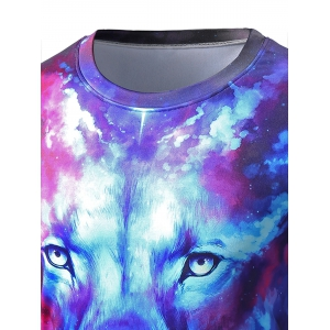 Round Neck Starry Sky 3D Lion Print Trippy T-shirt -