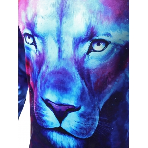 Round Neck Starry Sky 3D Lion Print Long Sleeve T-Shirt - COLORMIX XL