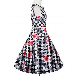 Plaid Floral Sleeveless Vintage Dress - COLORMIX 2XL