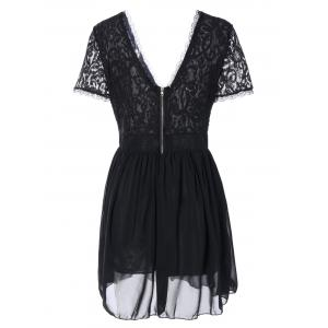 Plunging Lace Spliced Party Skater Club Dress -