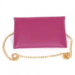 New Fashion Women's Golden Chain Envelope Purse Clutch Synthetic Leather Handbag Shoulder Bag Dinner Party -