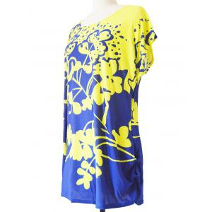 Abstract Floral Print Loose-Fitting T-Shirt -