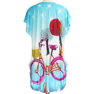 Bicycle Print Loose-Fitting Ruched T-Shirt -