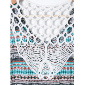 Back Lace Splicing Ethnic Print Blouse -
