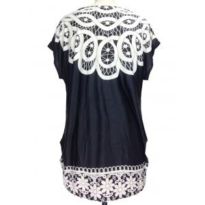 Printed Loose-Fitting Ruched T-Shirt -