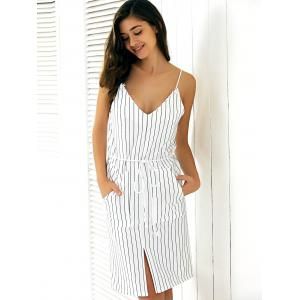 Casual Backless Stripe Slit Cami Dress -