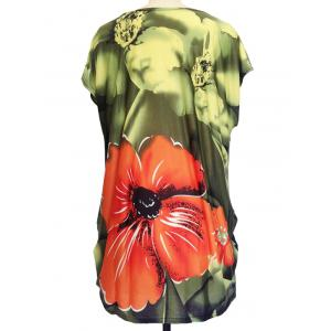 Floral Print Ruched Loose-Fitting T-Shirt - GREEN ONE SIZE