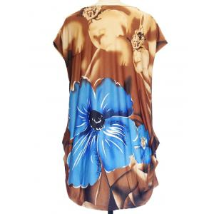 Floral Print Ruched Loose-Fitting T-Shirt - KHAKI ONE SIZE