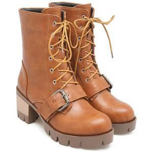 Chunky Heel Lace-Up Buckle Combat Boots -