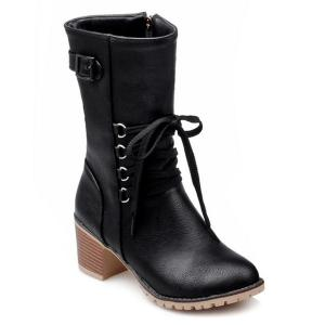 Buckle Tie Up Mid Calf Boots -