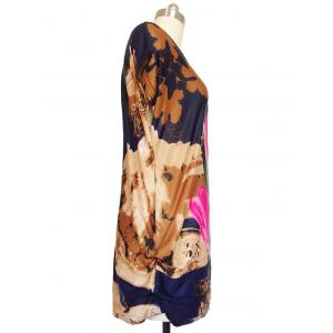 3D Floral Print Ruched Loose-Fitting T-Shirt -