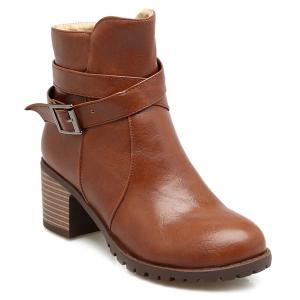 Cross Strap Chunky Heel Ankle Boots - BROWN 39