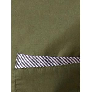 Stripe Panel Casual Long Sleeve Military Shirt - ARMY GREEN M