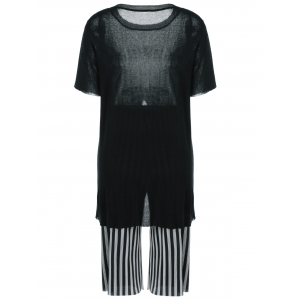 Furcal Knit Top and Striped Pants -