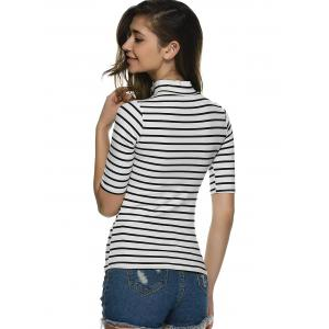 Stand Neck Striped Slim T-Shirt -