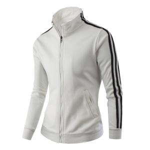 Stand Collar Zipper-Up Side Striped Jacket - WHITE 4XL