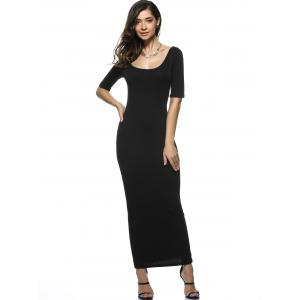 U Neck Long Backless Fitted Evening Dress - BLACK XL