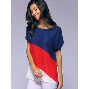 Fashionable Batwing Sleeves Round Collar Printing Chiffon T-Shirt  For Women - RED/WHITE/BLUE XL