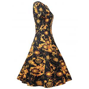 Retro Style Floral Fit and Flare Dress -