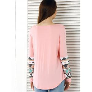 Sequined Embellished Single Pocket T-Shirt - LIGHT PINK L