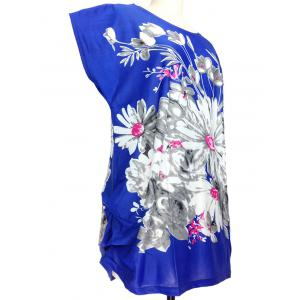 Loose-Fitting Floral Print Ruched T-Shirt -