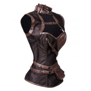 Buckled Pocket Desige Strappy Corset - DEEP BROWN 3XL