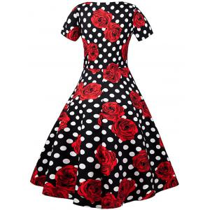 Floral Polka Dot A Line Vintage Dress - BLACK AND WHITE AND RED 2XL