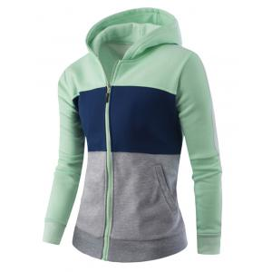 Zipper-Up Color Block Striped Hoodie - GREEN 4XL