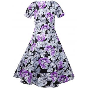 Retro Style Floral Midi A Line Dress - FLORAL 2XL