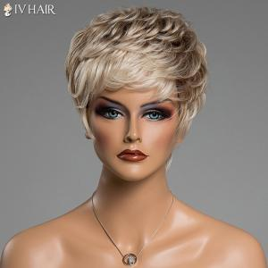 Prevailing Inclined Bang Siv Hair Capless Fluffy Curly Short Human Hair Wig - COLORMIX