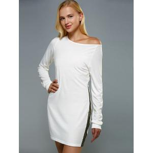 Skew Neck Long Sleeve Mini Jersey Dress - WHITE XL