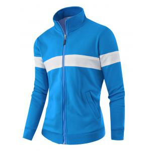 Zipper Up Stand Collar Two Tone Jacket - BLUE 4XL