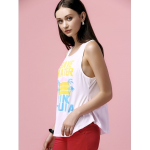 Casual Scoop Neck Print Loose Tank Top For Women -