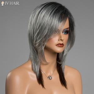 Assorted Color Medium Straight Human Hair Side Bang Siv Hair Capless Wig - COLORMIX