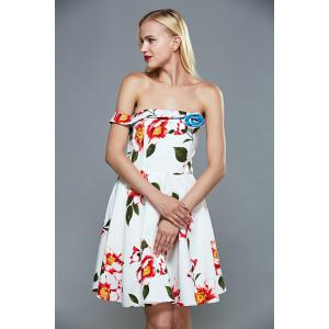 Off The Shoulder Floral Fit and Flare Cocktail Dress - WHITE XL