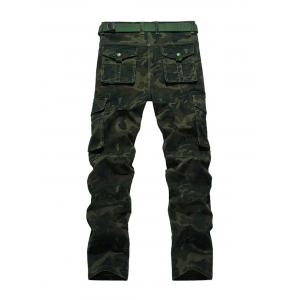 Plus Size Zipper Fly Straight Leg Pockets Embellished Camouflage Cargo Pants - ARMY GREEN 40