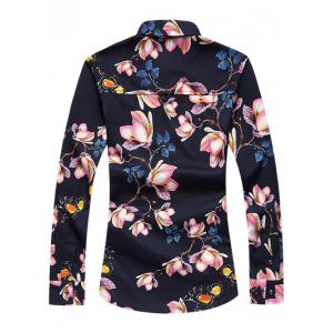 Plus Size 3D Floral Print Turn-Down Collar Long Sleeve Shirt -
