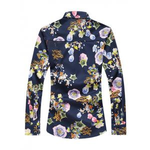 Plus Size 3D Flower Print Turn-Down Collar Long Sleeve Shirt - COLORMIX 5XL