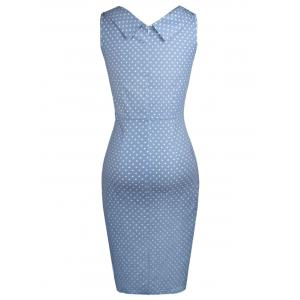 Sweetheart Neck Polka Dot Bodycon Dress - LIGHT BLUE 2XL