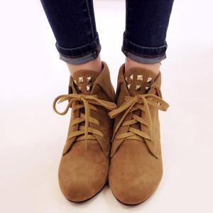 Lace-Up Rivet Flock Short Boots -