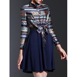 Ethnic Print Spliced Tied-Up Dress - PURPLISH BLUE 2XL