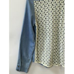 Buttoned Pocket Design Lace Splicing Shirt -