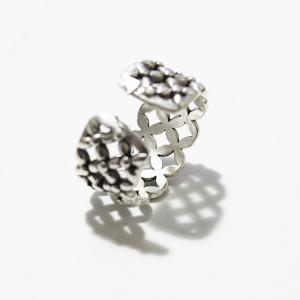 Vintage Floral Hollow Out Cuff Ring - SILVER ONE-SIZE